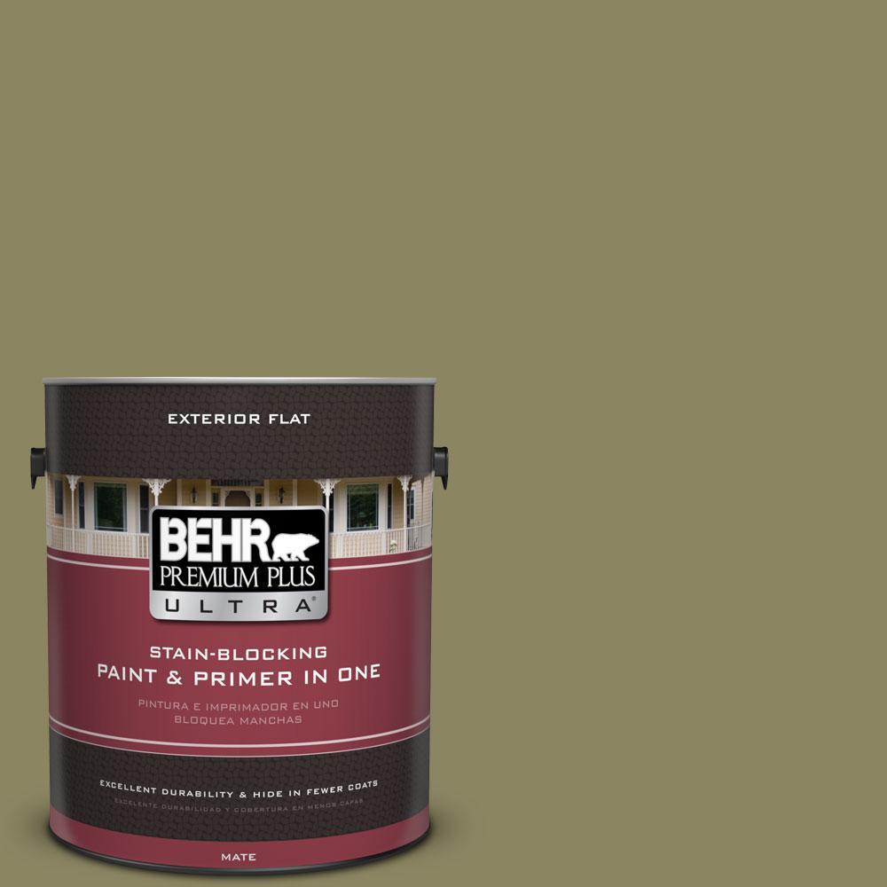 BEHR Premium Plus Ultra 1-gal. #S350-5 Green Scene Flat Exterior Paint