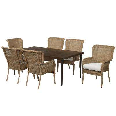 Lemon Grove Custom 7-Piece Wicker Outdoor Dining Set with Cushions Included, Choose Your Own Color