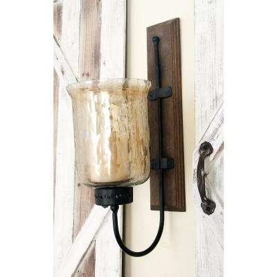 21 in. New Traditional Silver Flared Top Hurricane Candle Sconce