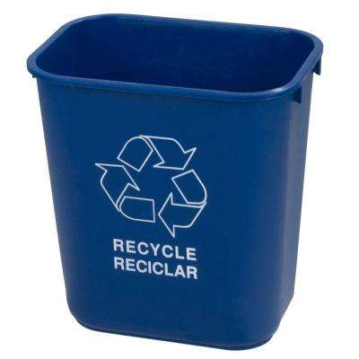 13-5/8 qt. Blue Imprinted Recycling and Logo Waste Basket (12-Case)