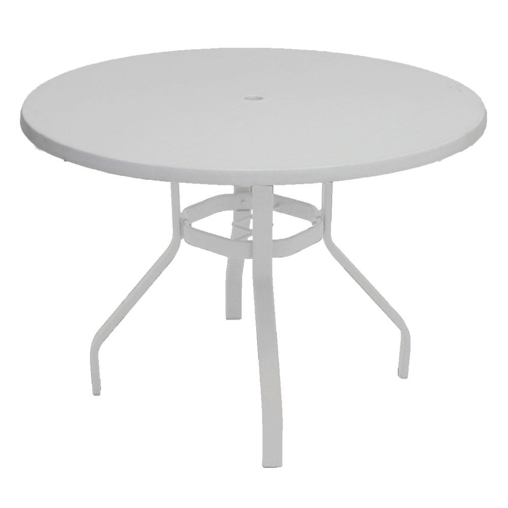 White Outdoor Patio Furniture.Marco Island 42 In White Round Commercial Fiberglass Metal Outdoor Patio Dining Table