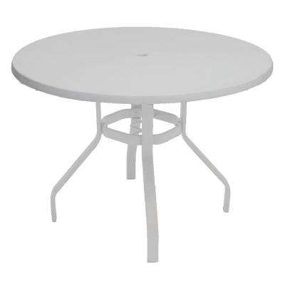 Marco Island 42 In. White Round Commercial Fiberglass Metal Outdoor Patio  Dining Table