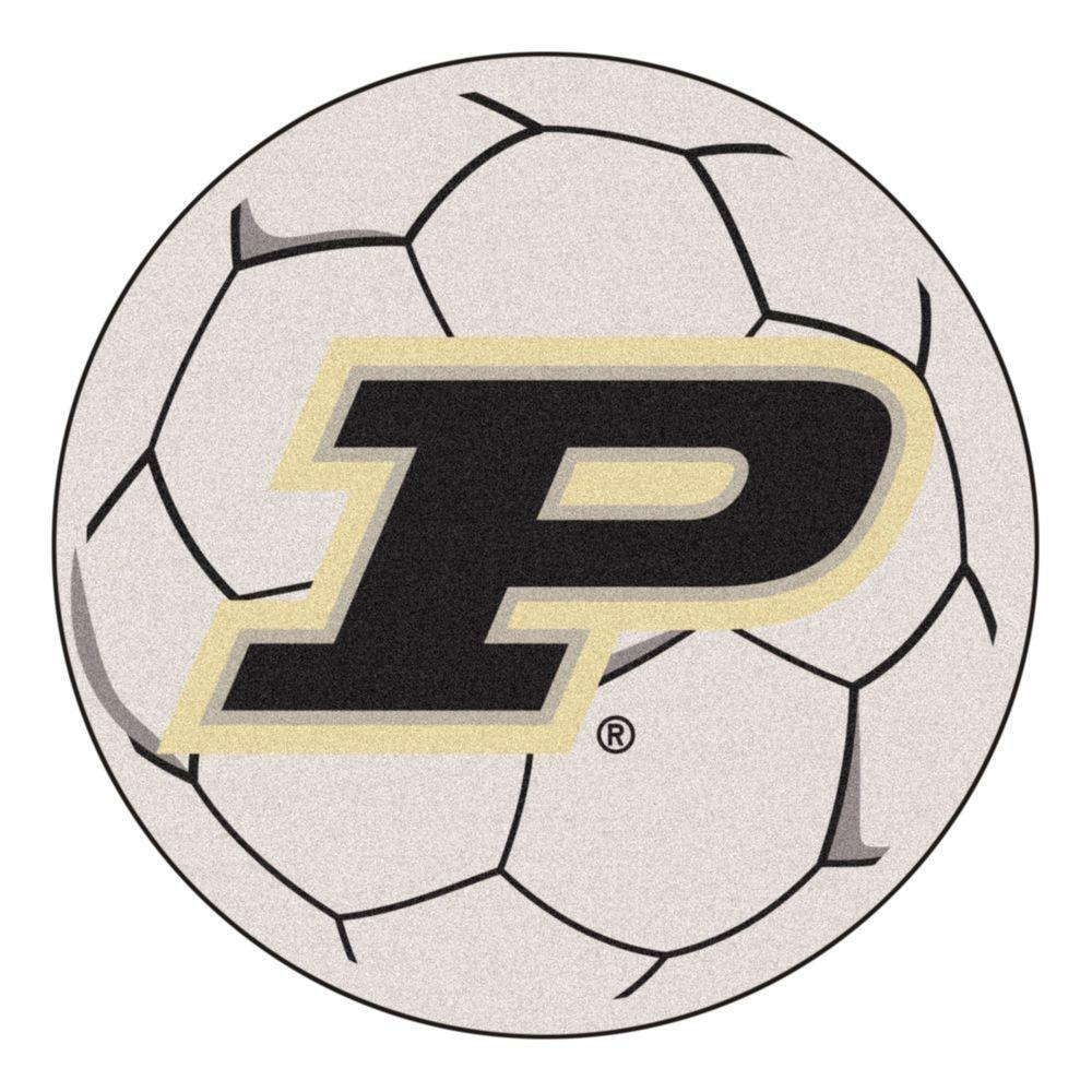 FANMATS NCAA Purdue University P Logo Cream 2 ft. x 2 ft. Round Area Rug