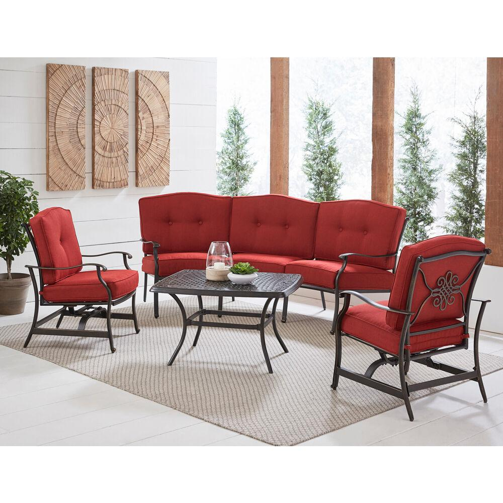 Hanover Traditions 4-Piece Aluminum Patio Conversation Set with Red  Cushion, Cast-Top Coffee Table, Sofa and 2-Rockers