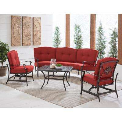 Traditions 4-Piece Aluminum Patio Conversation Set with Red Cushion, Cast-Top Coffee Table, Sofa and 2-Rockers