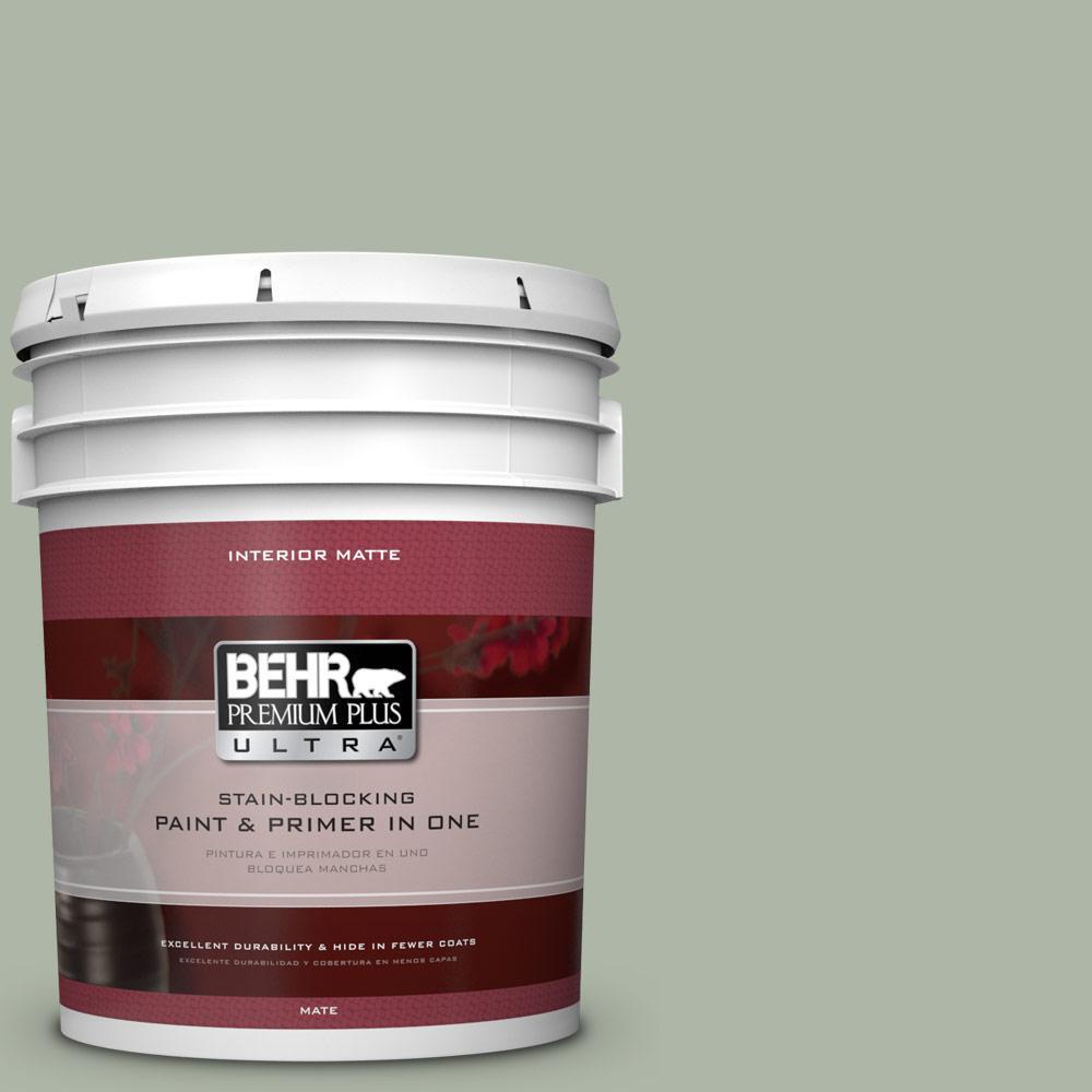 BEHR Premium Plus Ultra 5 gal. #ICC-56 Green Tea Flat/Matte Interior Paint