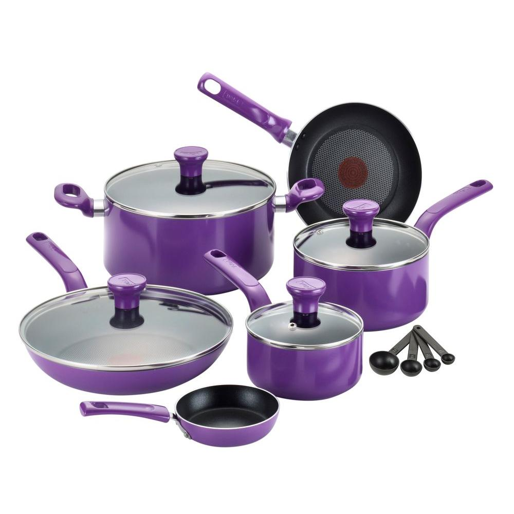 Excite 14-Piece Purple Cookware Set with Lids