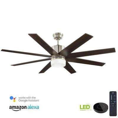 Zolman 60 in. Pike Integrated LED DC Brushed Nickel Ceiling Fan with Light Kit Works with Google Assistant and Alexa