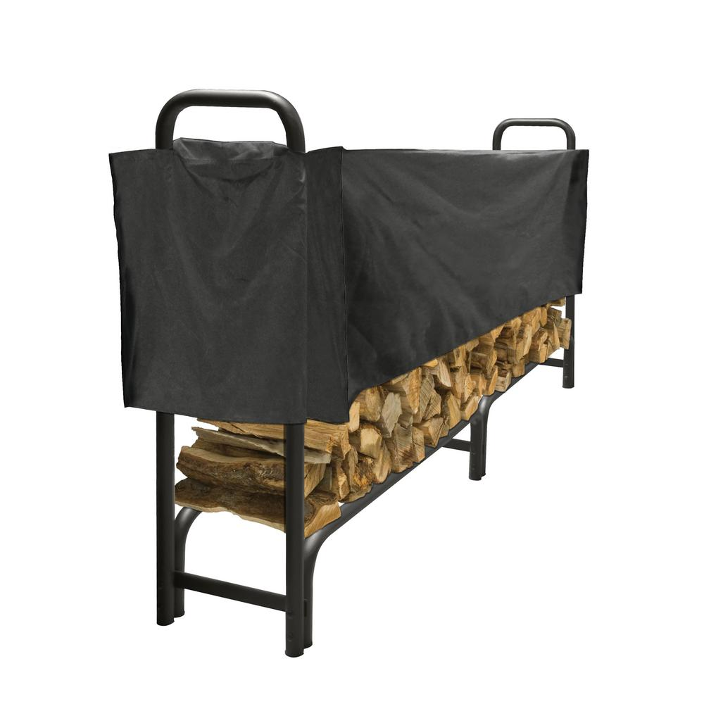 Pleasant Hearth 8 ft. Heavy Duty Firewood Rack with Half Cover