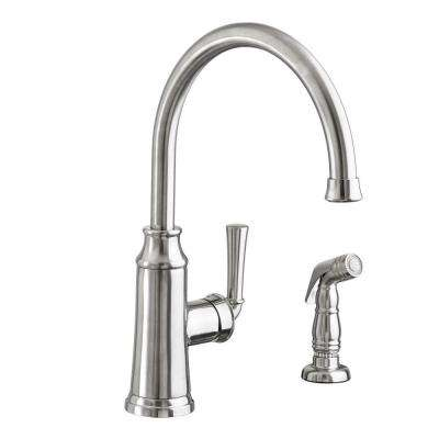 Portsmouth High-Arc Single-Handle Standard Kitchen Faucet with Side Sprayer in Stainless Steel