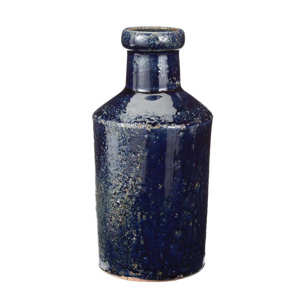 4 in. x 8 in. Rustic Denim Earthenware Decorative Milk Bottle