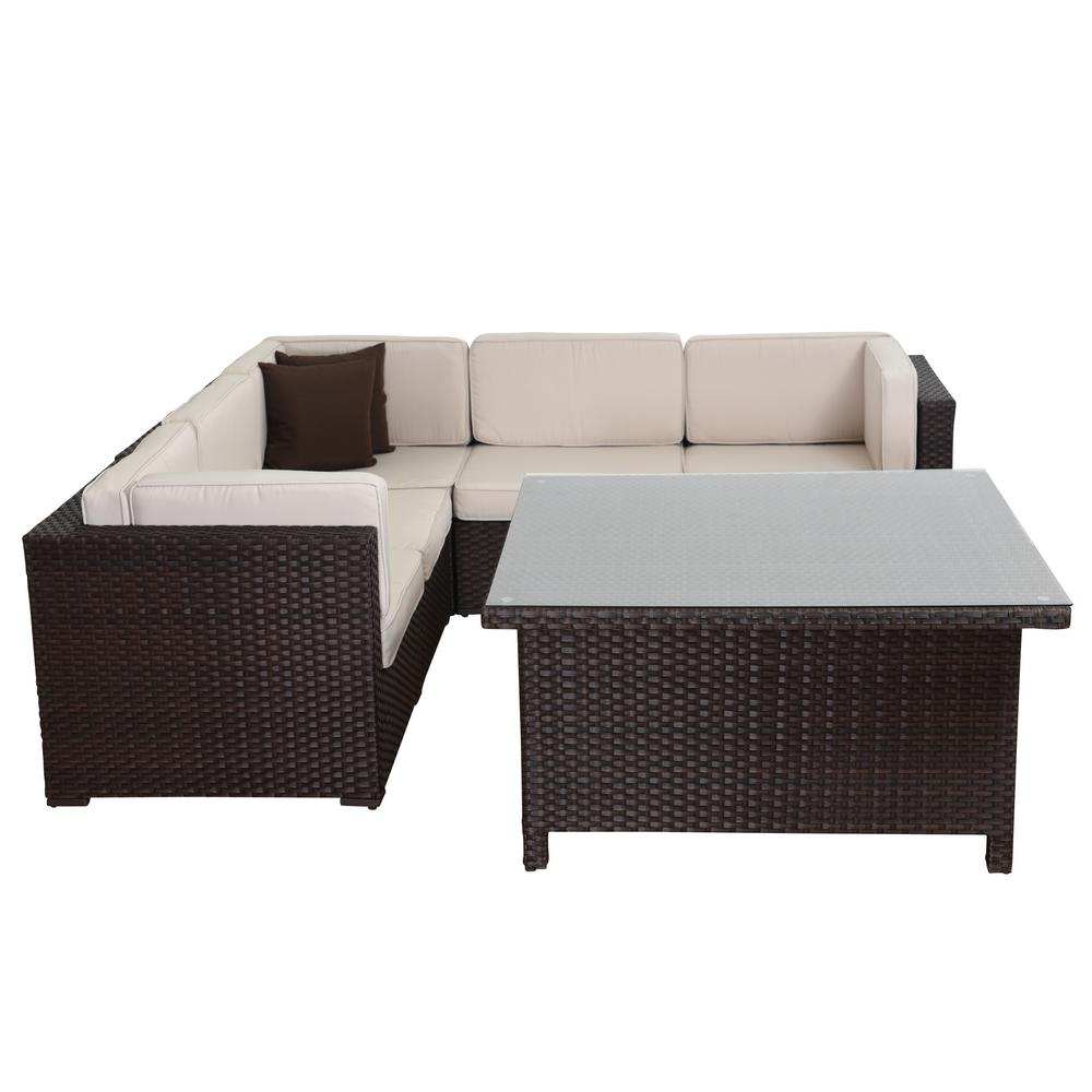 Atlantic Contemporary Lifestyle Sectional Set Brown Synthetic Wicker White Cushions Square Table
