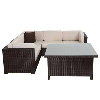 Bellagio 7-Piece Patio Sectional Set Brown Synthetic Wicker and Off White Cushions with Square Table and Throw Pillows