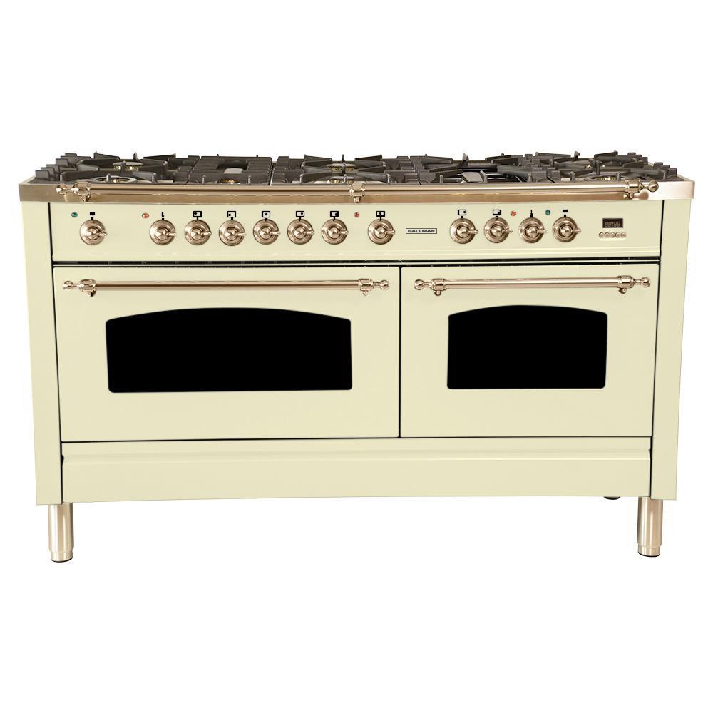 60 in. 6 cu. ft. Double Oven Dual Fuel Italian Range True Convection,8 Burners, LP Gas, Bronze Trim/Antique White