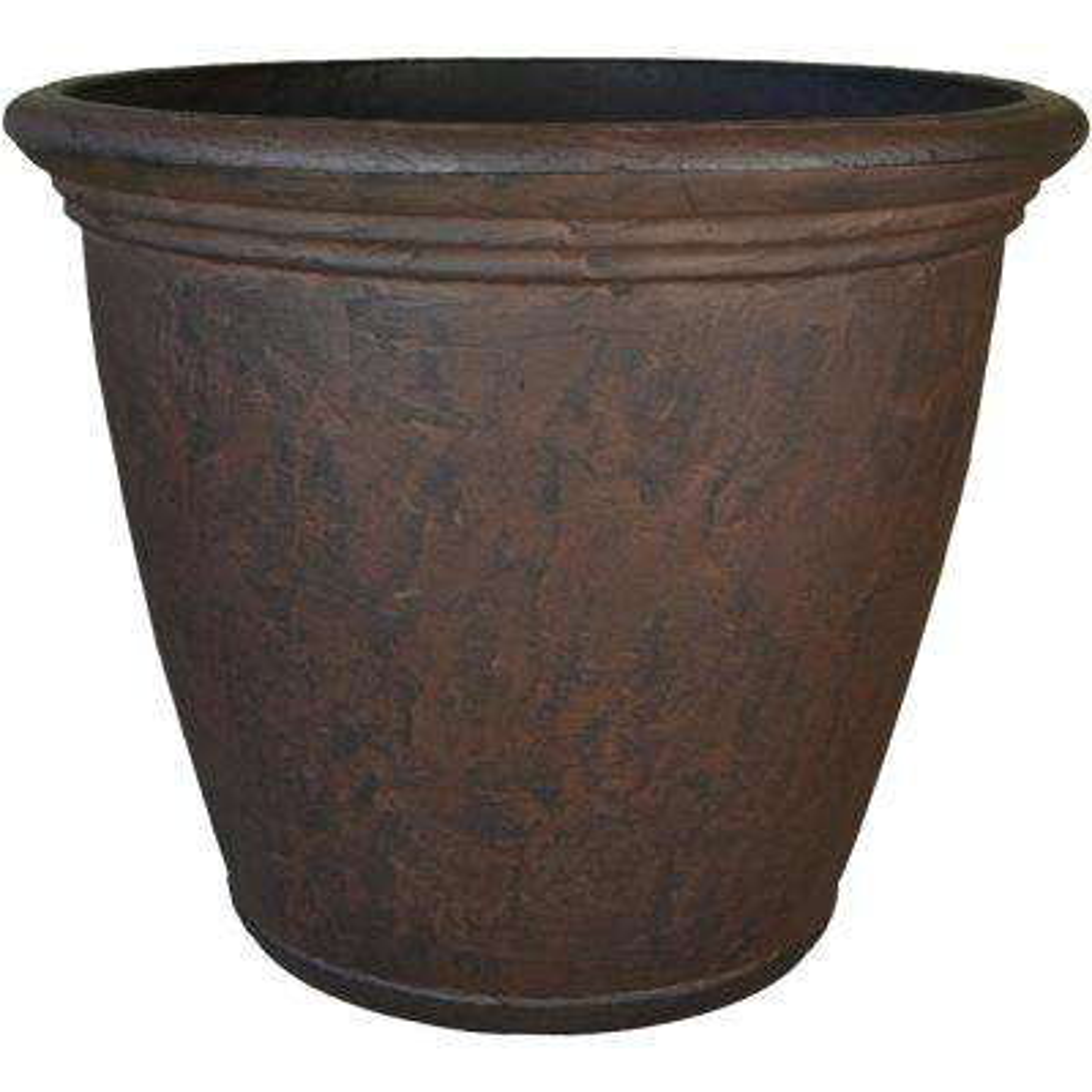 24 in. Rust Anjelica Resin Outdoor Flower Pot Planter Single