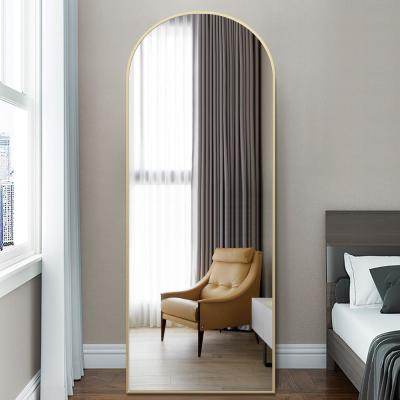 65 in. x 22 in. Modern Arched Shape Framed Gold Standing Mirror Full Length Floor Mirror