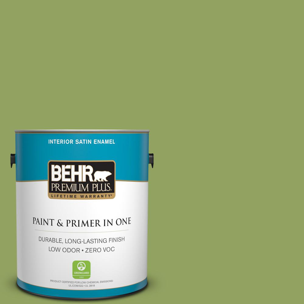 BEHR Premium Plus Home Decorators Collection 1-gal. #HDC-MD-15 Zesty Apple Zero VOC Satin Enamel Interior Paint
