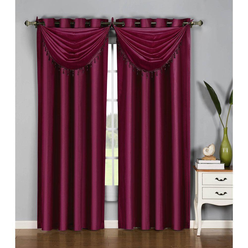Semi-Opaque Jane Faux Silk 54 in. W x 84 in. L Grommet Extra Wide Curtain Panel in Purple