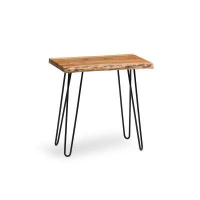 Hairpin Live Edge Brown and Black Natural Wood End Table