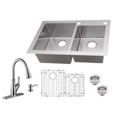 All-in-One Dual Mount 18-Gauge Stainless Steel 33 in. 2-Hole 60/40 Double Bowl Kitchen Sink with Pull-Out Kitchen Faucet
