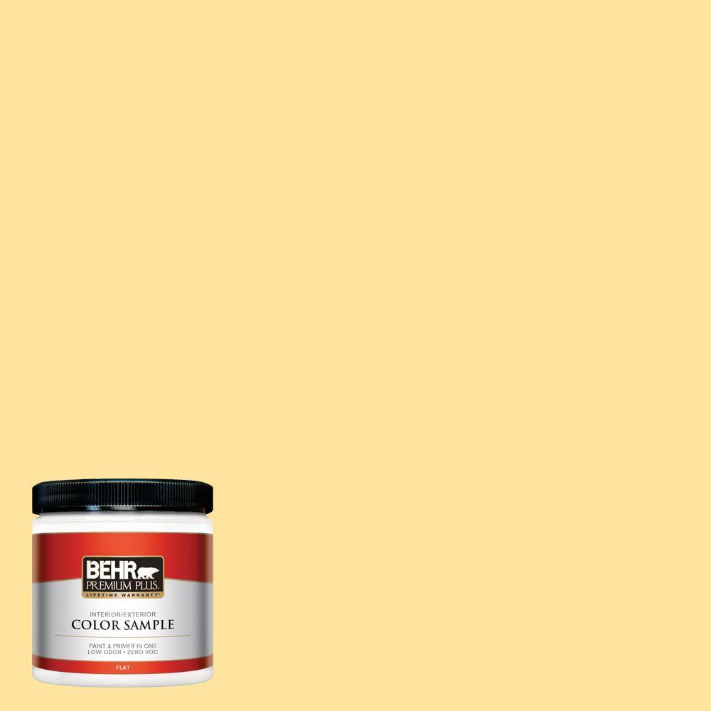 BEHR Premium Plus 8 oz. #340B-4 Lemon Drops Interior/Exterior Paint Sample