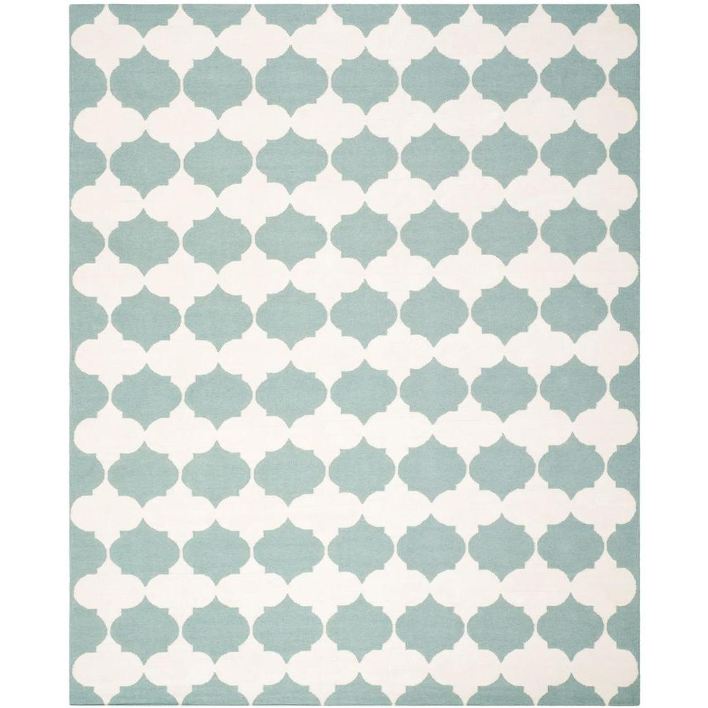 Dhurries Blue/Ivory 8 ft. x 10 ft. Area Rug