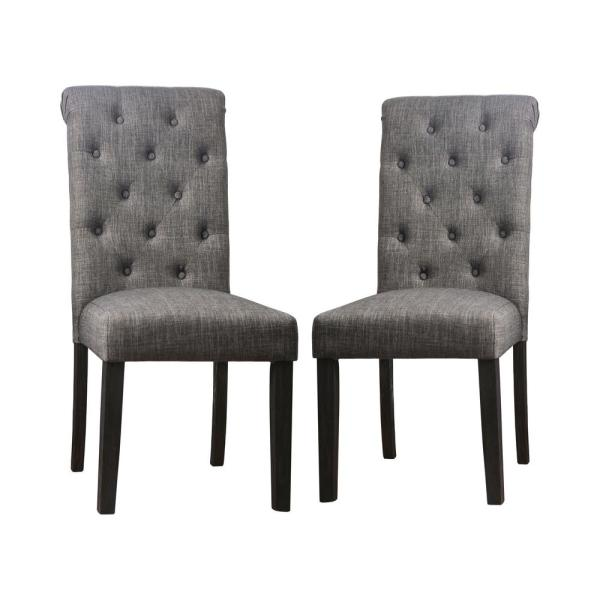 Furniture of America Lorcan Upholstered Antique Black and Gray Side Chairs