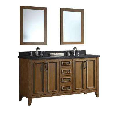 Daniel 60 in. W x 22 in. D Vanity in Nutmeg with Granite Vanity Top in Black with White Basins