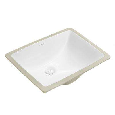 Plaisir 18 in. Rectangular Under-Mount Bathroom Sink in White