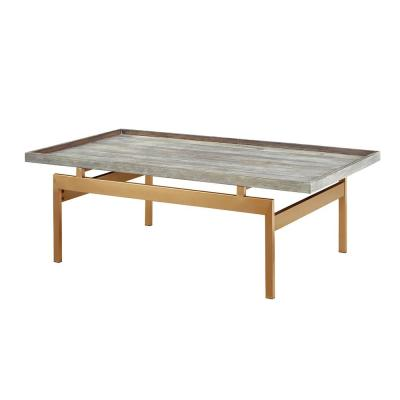 18 in. Rectangle Coffee Table with Pine Veneer Gray Top and Gold Metal Stand