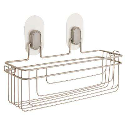 Single Storage Basket with Clear IncrediGrip Pads in Nickel