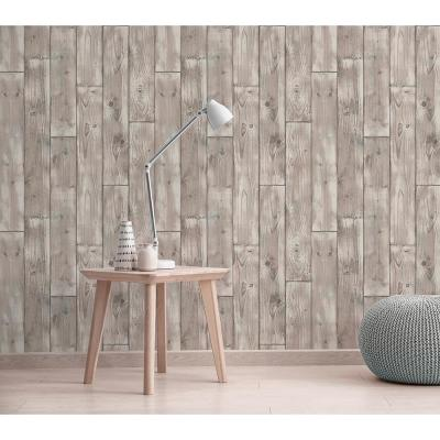 56.4 sq. ft. Niantic Blue Drift Wood Wallpaper