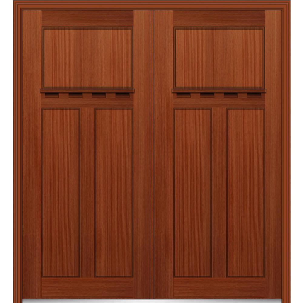 Fiberglass Mahogany 3 Panel Front Doors Exterior Doors The