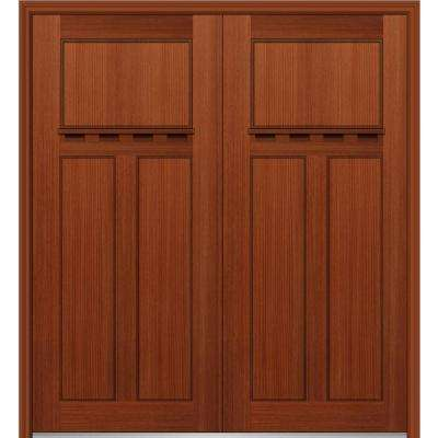 64 in. x 80 in. Classic Left-Hand Inswing Craftsman 3-Panel Stained Fiberglass Fir Prehung Front Door with Brickmould