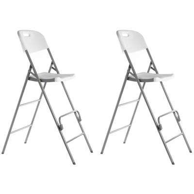 White Tall Triple Braced Garden Patio Folding Chair for Indoor and Outdoor Use