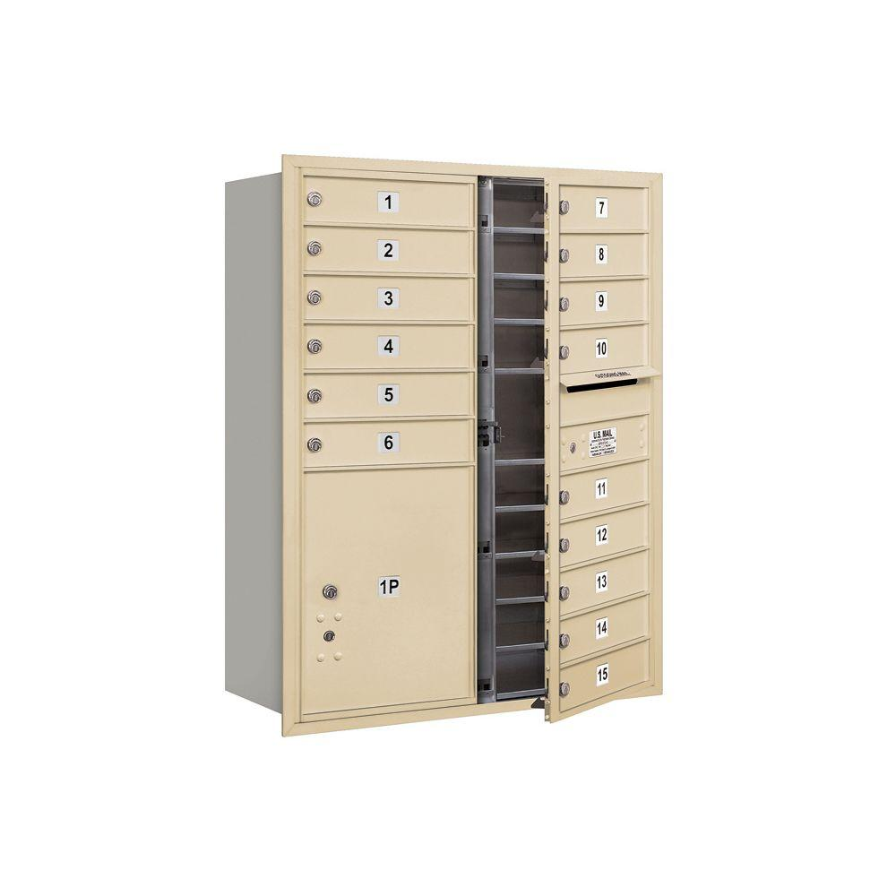 Salsbury Industries 3700 Series 41 in. 11 Door High Unit Sandstone Private Front Loading 4C Horizontal Mailbox with 15 MB1 Doors/1 PL5