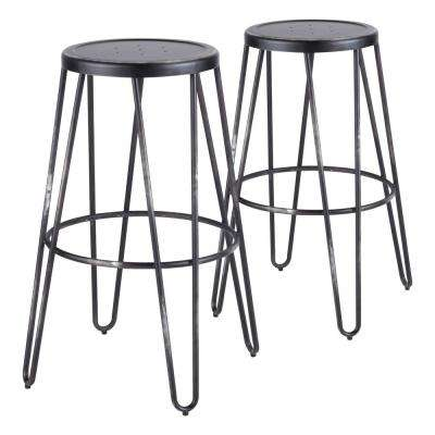 Avery 30 in. Vintage Black Bar Stool (Set of 2)