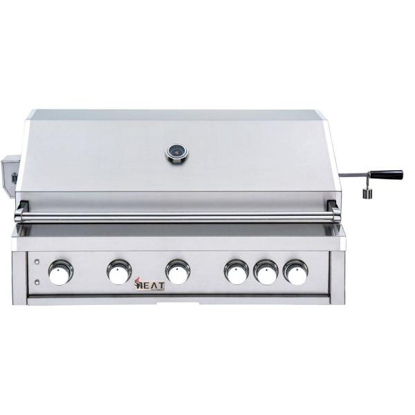40 in. 5-Burner Built-In Natural Gas Grill in Stainless Steel with 1 Infrared Burner and Bonus Rotisserie Kit
