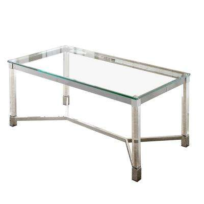Talia Glass and Chrome Cocktail Table