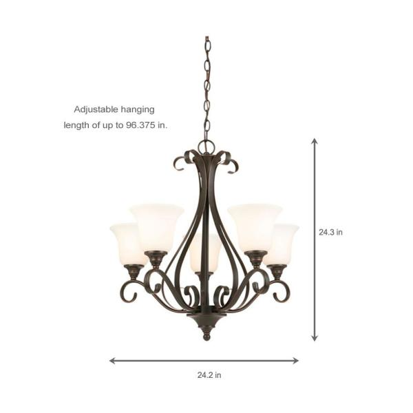 [SCHEMATICS_48IU]  Hampton Bay 5-Light Oil-Rubbed Bronze Chandelier with Frosted White Glass  Shades-IAY8115A-4 - The Home Depot | Wiring Diagram For 5 Light Chandelier |  | The Home Depot