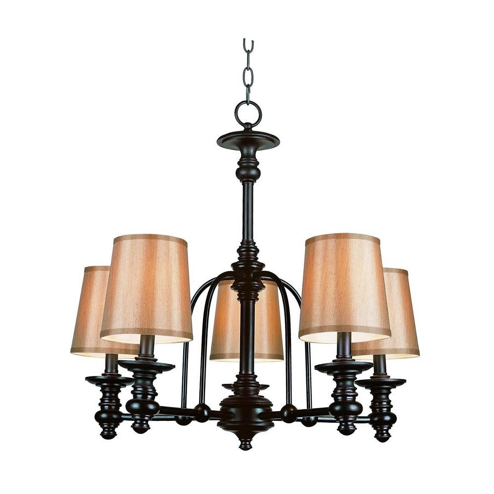 Stewart 5-Light Rubbed Oil Bronze Chandelier with Fabric Shades