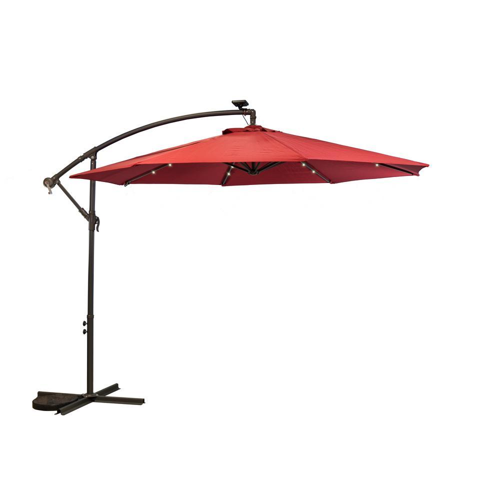 10 ft. Aluminum Pole Cantilever Solar Patio Umbrella in Scarlet