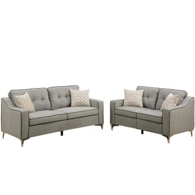 Campania 2-Piece Light Gray Polyfiber Sofa Set