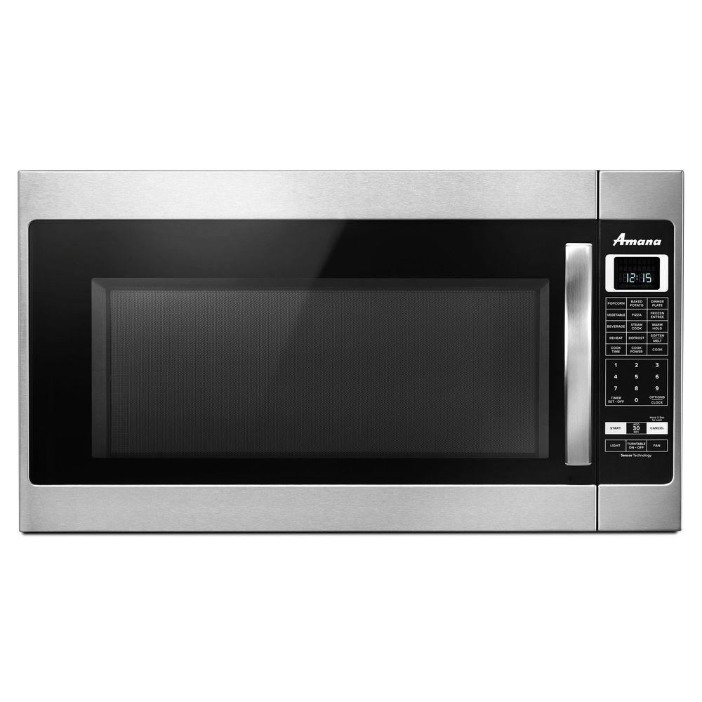 Over The Range Microwave In Black With Sensor Cooking Amv6502reb Home Depot