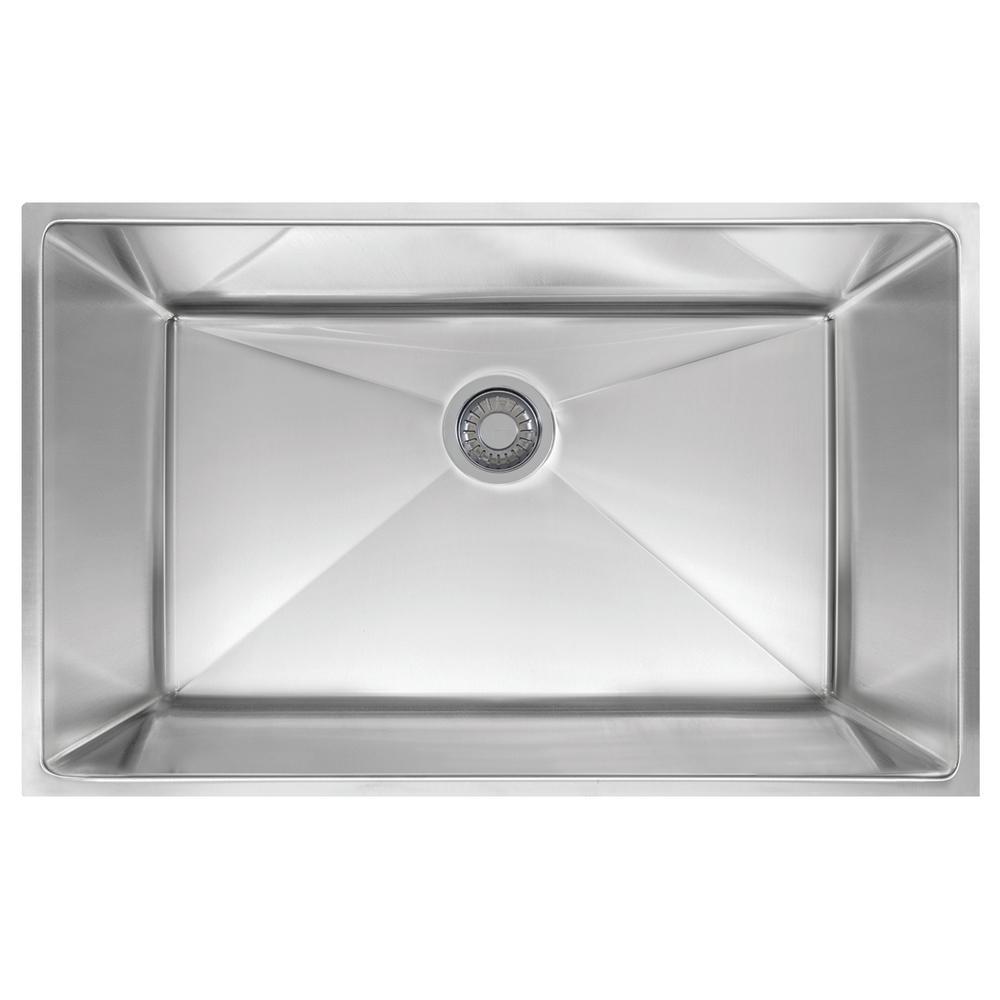 Planar 8 Undermount Stainless Steel 32.5 in. x 18.5 in. Single Bowl Kitchen Sink