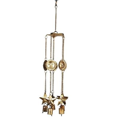 Sun and Star 20 in. Brass Painted Metal Wind Chime