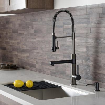 Artec Pro Single-Handle Pull-Down Sprayer Kitchen Faucet with Pot Filler in Matte Black/Black Stainless Steel