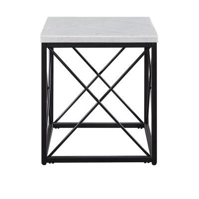 Skyler White Marble Top Square End Table