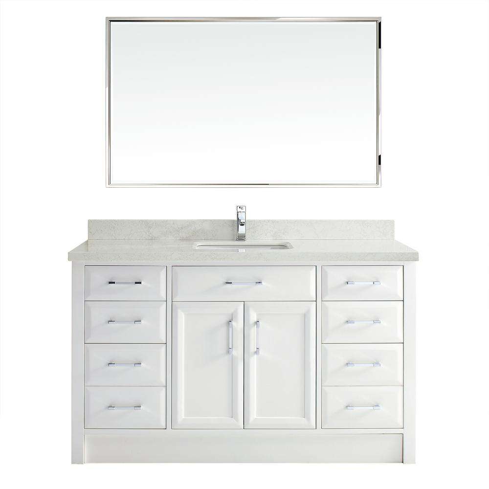 Studio Bathe Calais 60 in. Vanity in White with Solid Surface Marble Vanity Top in Carrara White and Mirror
