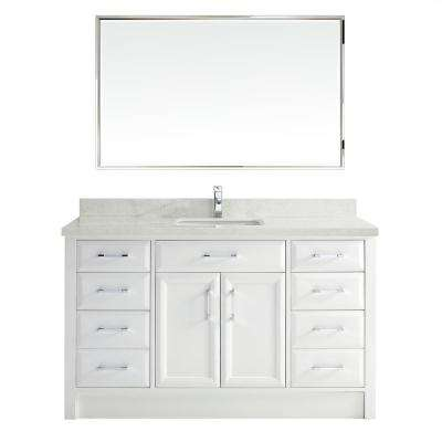 Calais 60 in. Vanity in White with Solid Surface Marble Vanity Top in Carrara White and Mirror